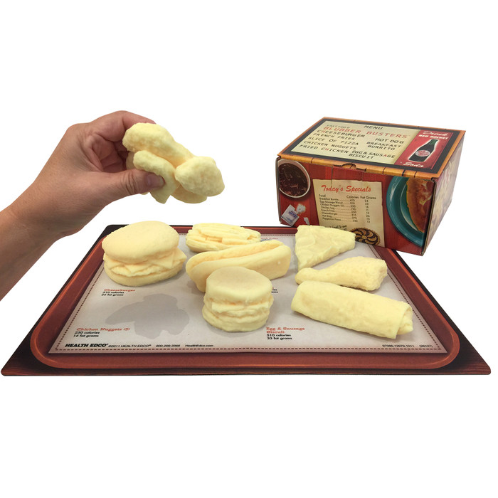 fast food blubber busters, hand squeezing chicken nuggets model, calorie and fat content, fast food, Health Edco, 26127