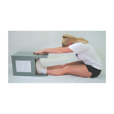 Novel Products Flex-Tester, young female demonstrating stretch & flexibility with box, Health Edco, 30016
