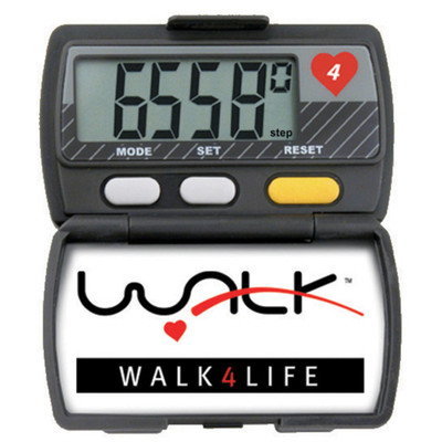 Elite Pedometer, large digital display hinged cover tracks multiple items, Health Edco, 30020