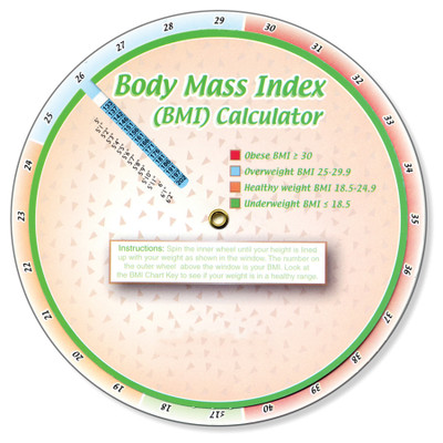 "Body Mass Index Calculator, colorful 6"" wheel aligns height-weight to show body mass index, Health Edco, 30172"