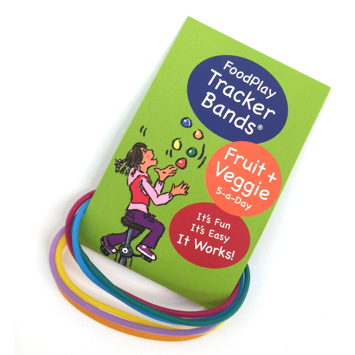 Fruit and Vegetable Tracker Bands, 5 color bands and a bookmark reminder for eating fruits and vegetables, Health Edco, 30326