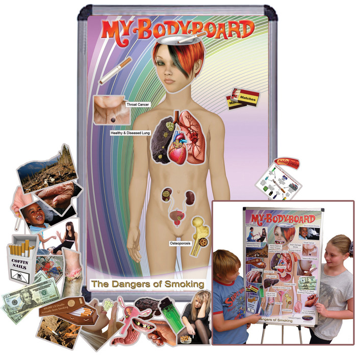 My BodyBoard Dangers of Smoking Set, interactive magnetic display with body background and magnets depicting negative smoking effects, Health Edco, 30347