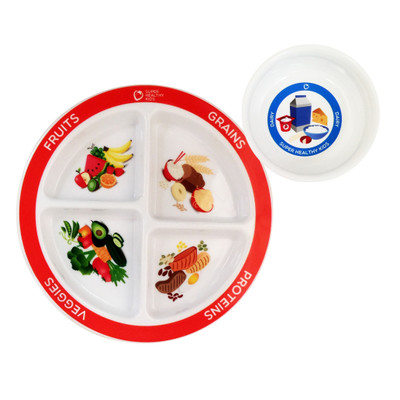 MyPlate Kids Plate and Bowl Set for health education, nutrition education plate and bowl, Health Edco teaching tools, 30534