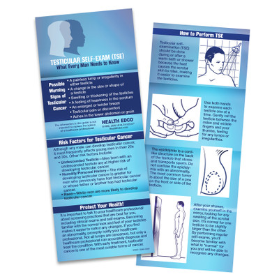 testicular self-examination TSE wallet-sized guide, TSE instructions cancer risk factors warning signs, Health Edco, 37005