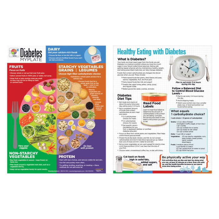 healthy food choices with diabetes using MyPlate tear pad, diabetes tear pad du=iscusses carbs physical activity reducing fats sugars salt, Health Edco, 38003
