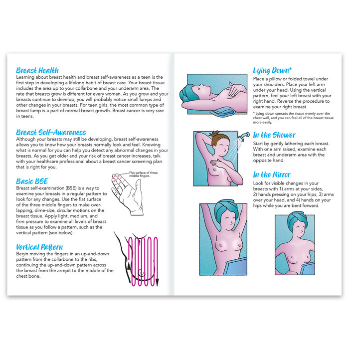 teen women breast self-examination pamphlet, BSE vertical pattern explained for young women inside shown, Health Edco, 38066