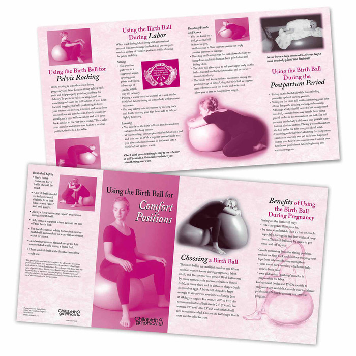 birth ball labor comfort positions 8-panel pamphletfront and back images, visual references and tips for birthball use by pregnant women and partners, Childbirth Graphics, 38403