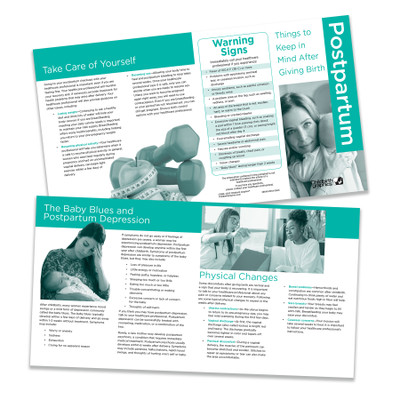 Postpartum: Things to Keep in Mind After Giving Birth Pamphlet by Childbirth Graphics, childbirth education materials, 38640
