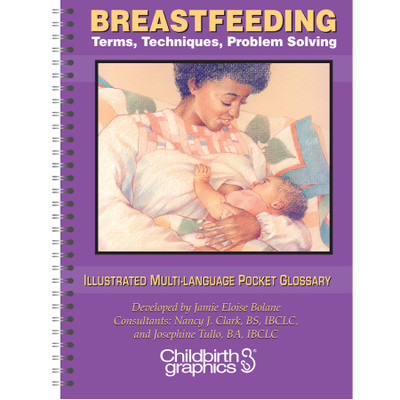 Breastfeeding Terms Techniques Problem Solving Glossary in 7 languages illustrated cover, Childbirth Graphics, 38806