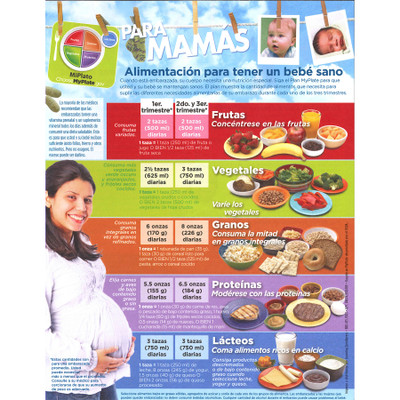 MyPlate for Expectant Moms Tear Pad Spanish language, nutrition guidelines healthy mom, Childbirth Graphics, 39987