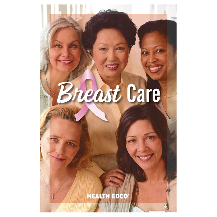 Breast Care women's breast health education booklet from Health Edco featuring ethnically diverse women on the cover, 40001