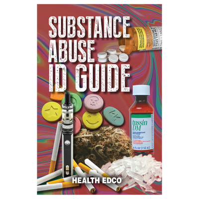 Substance Abuse Identification Guide 16-page booklet cover, collage of abused substances, Health Edco, 40022