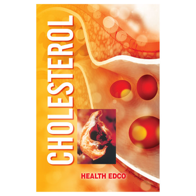 Cholesterol 16-page booklet cover, collage of food items framed by mosaic, Health Edco, 40041