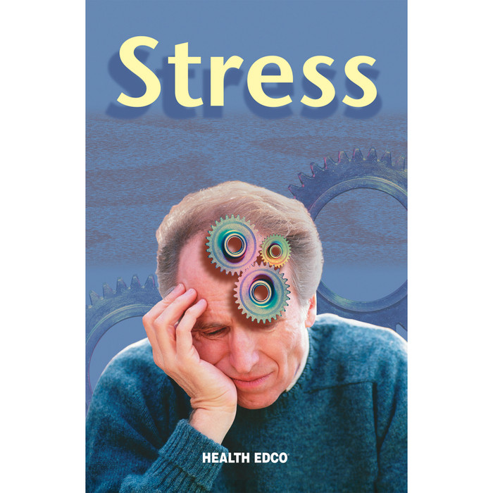Stress 16-page booklet cover, older man with gears in head holding side of face, Health Edco, 40045