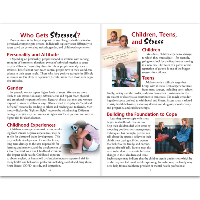 Stress 16-page booklet inside spread, who gets stressed and children teens and stress, Health Edco, 40045