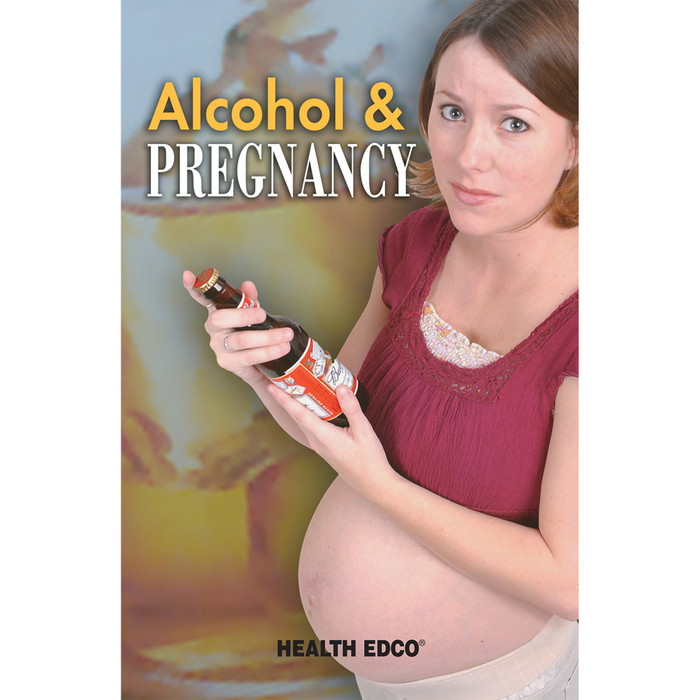 Alcohol and Pregnancy 16-page booklet cover, pregnant woman holding bottle of beer, Health Edco, 40053
