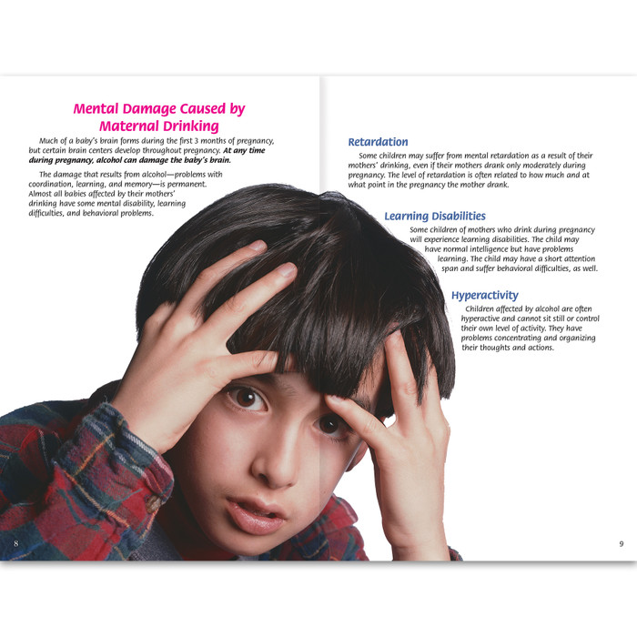 Alcohol and Pregnancy 16-page booklet inside spread, mental damage caused by maternal drinking child holding head with both hands, Health Edco, 40053