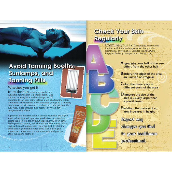 Teen Sun Safety Booklet, 16 page 4-color booklet spread avoid tanning booths lamps pills ABCDE checklist, Health Edco, 40066