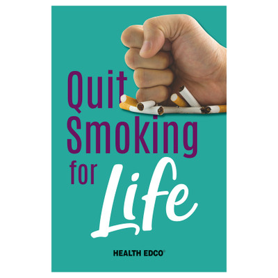 Quit Smoking for Life 16-page booklet cover, hand holding then crushing packet of cigarettes. Health Edco, 40077