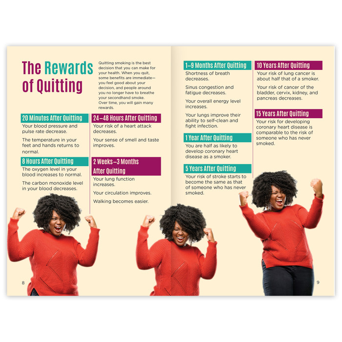 Quit Smoking for Life 16-page booklet inside spread, tips on preparing to quit tips on once you quit, Health Edco, 40077