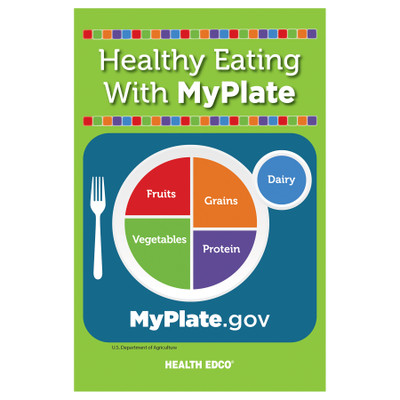 Healthy Eating with MyPlate 16-page booklet cover, MyPlate logo, Health Edco, 40441