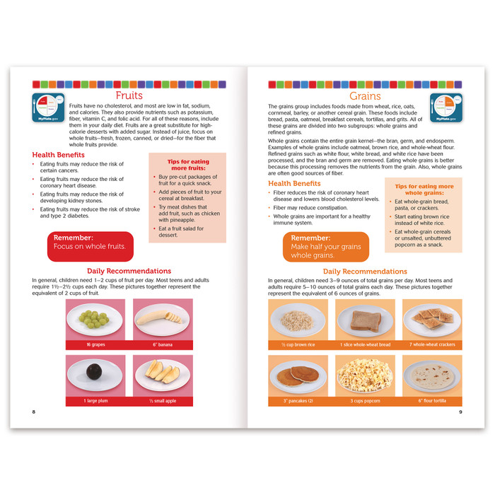 Healthy Eating With MyPlate Booklet for nutrition education by Health Edco, nutrition basics and MyPlate page spread, 40441
