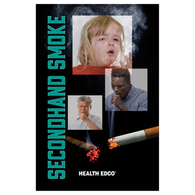 Secondhand Smoke 16-page booklet cover, young woman smoking and exahing cigarette smoke, Health Edco, 40478