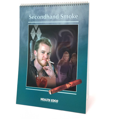 Secondhand Smoke 6-panel spiral bound flip chart cover, man smoking cigarette smoke cigar pipe, Health Edco, 43110