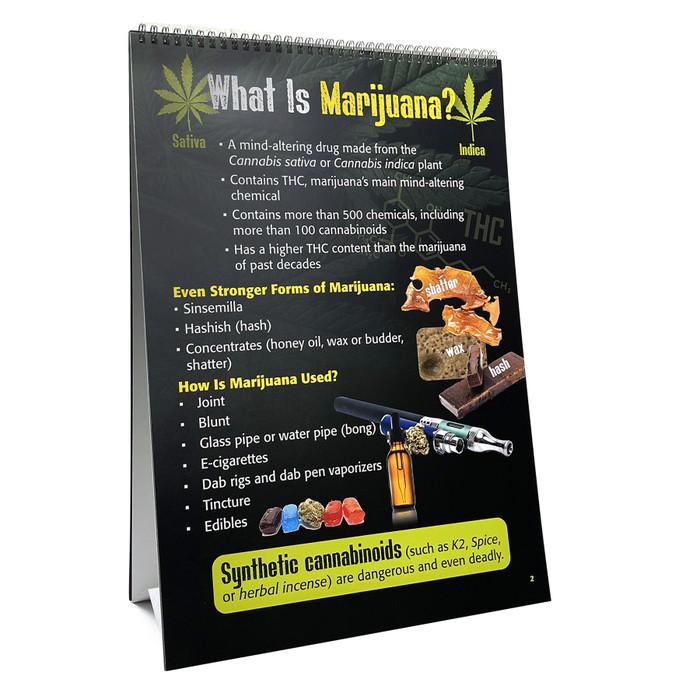 Marijuana Flip Chart from Health Edco, presentation panel explaining types of marijuana and how marijuana is used, 43111