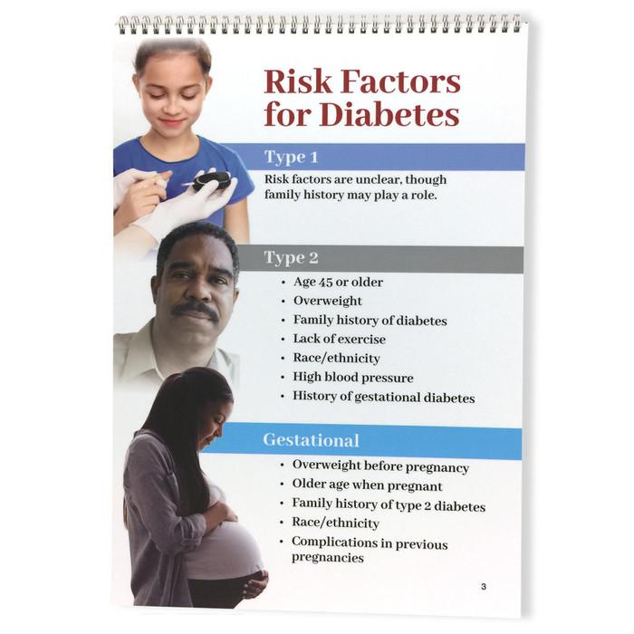 Diabetes Flip Chart by Health Edco for health education, flip chart panel covering diabetes risk factors, 43130