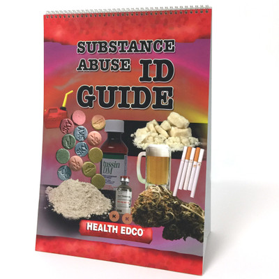Substance Abuse Identification Guide 6-panel spiral bound flip chart cover collage of abused drugs, Health Edco, 43161
