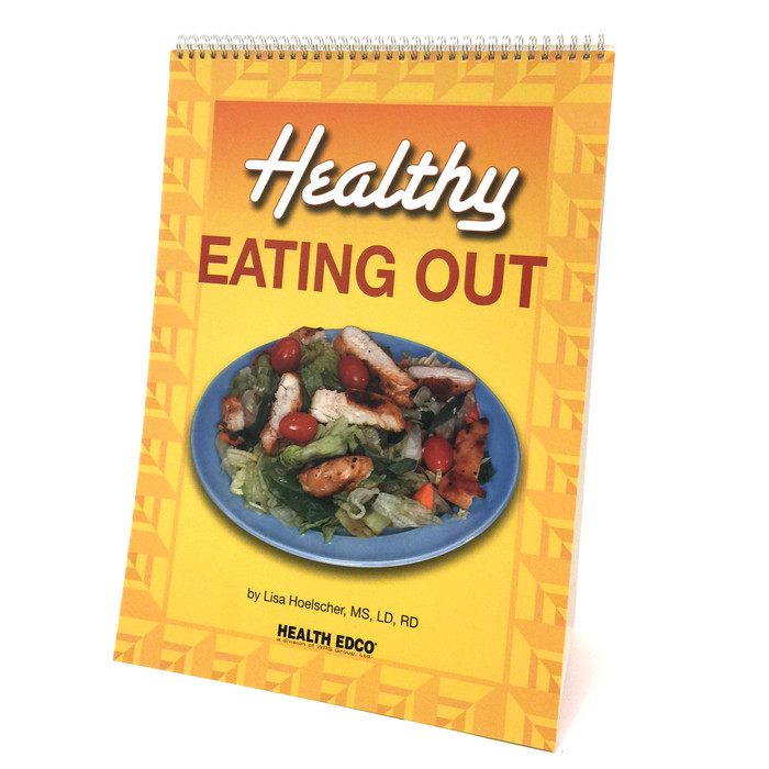 Healthy Eating Out 6-panel spiral bound flip chart cove vegetable salad with grilled chicken, Health Edco, 43174