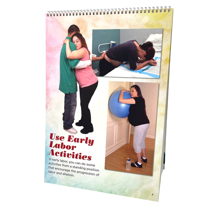 Comfort Positions for Labor & Birth spiral bound flipchart photo panel 8, change pelvic outlet, Childbirth Graphics, 43324