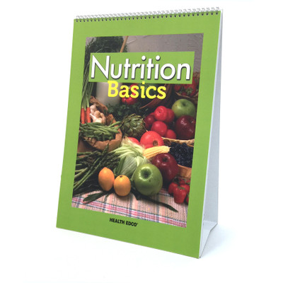 Nutrition Basics 6-panel spiral bound flip chart cover, fruits and vegetables on plaid tablecloth, Health Edco, 43326