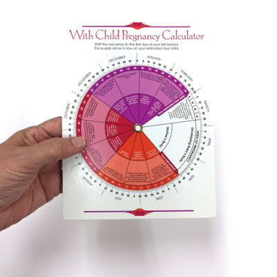 With Child Pregnancy Calculator due date wheel trimesters include fetal development information, Childbirth Graphics, 43341