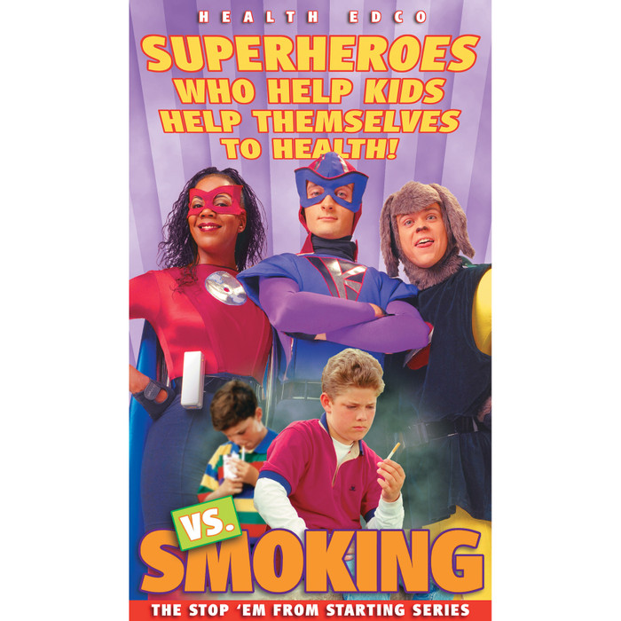 Superheroes vs Smoking DVD Stop 'Em From Starting 15 minute program cover features 3 superheroes, Health Edco, 48359