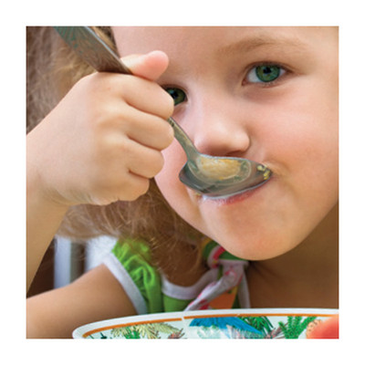 Happy Mealtimes & Healthy Kids DVD & Training Guide, young girl eating a bowl of cereal, Health Edco, 48825