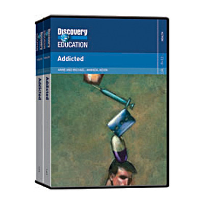 Addicted DVD Set, DVD Set cover illustration of teen head with drug paraphernalia balanced on it, Health Edco, 48840