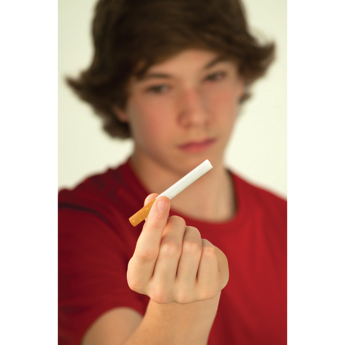 All You Need to Know About Tobacco in 17 minutes DVD young teen boy holding out unlit cigarette, Health Edco, 48856