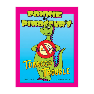 Donnie Dinosaur's Tobacco Trouble Package DVD, cartoon green dinosaur holding no smoking sign, Health Edco, 49117