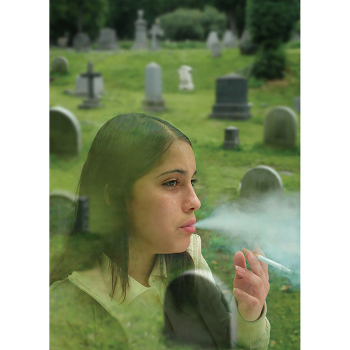 Tobacco and Death Perfect Together DVD, young female smoking with cemetery in background, Health Edco, 49453