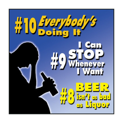 Top Ten Myths About Alcohol & Drugs DVD, silhouette male with beer bottle 3 myths, Health Edco, 49455