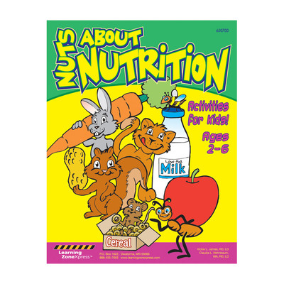 Nuts About Nutrition activities for kids ages 2-6, coloring crosswords word finds puzzles 8 oages, Health Edco, 50392