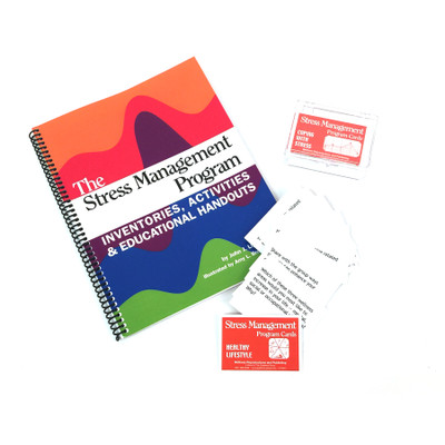 Stress Management Program Kit, spiral bound book CD program cards in plastic case, Health Edco, 50589