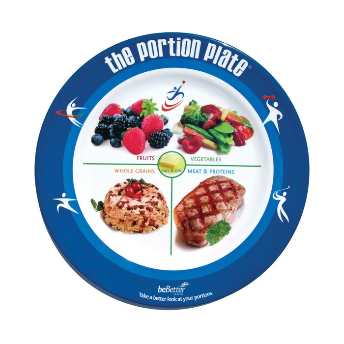 Adult Portion Plate plastic plate blue border food group photos on surface divide plate into food groups, Health Edco, 50881