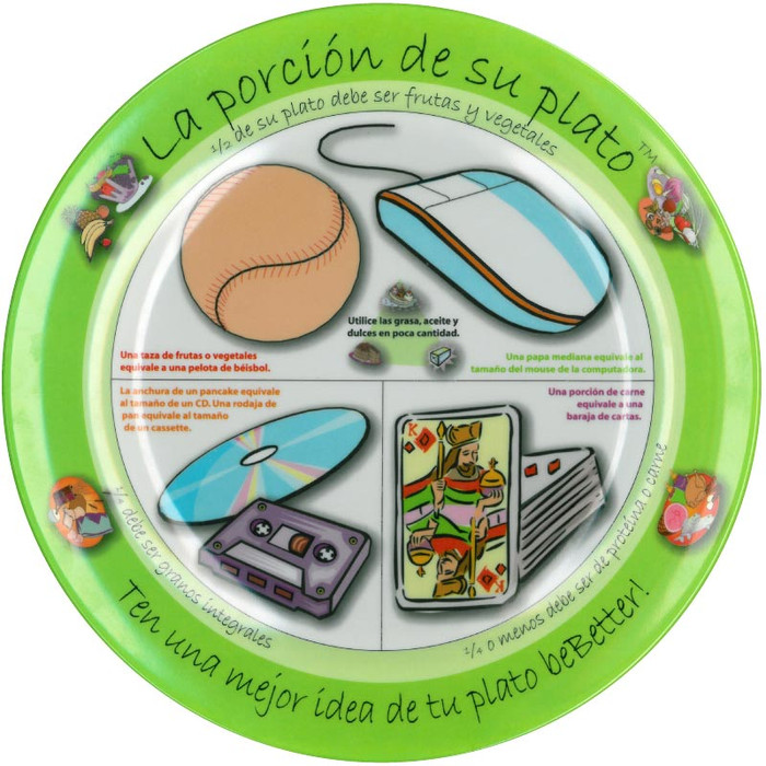 Adult's Portion Plate Spanish, USDA nutritional guidelines portion size suggestions, Health Edco, 50891