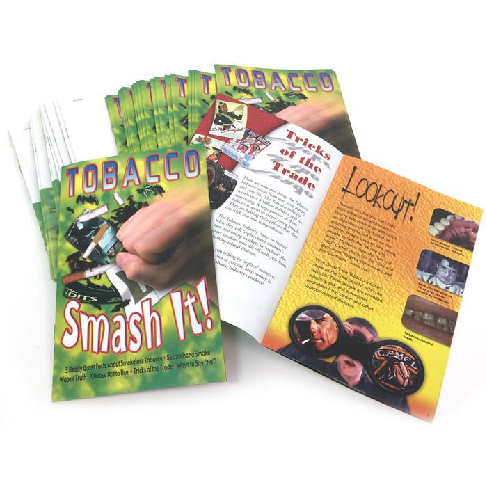 Tobacco Smash It Booklet, 100 booklet stack inside spread & coer shows fist smashing cigarettes, Health Edco, 52022