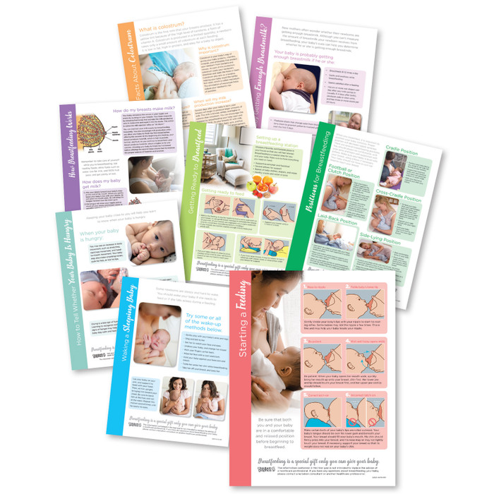 Breastfeeding Tear Pad set of 8, collage full-color letter-size tear pads breastfeeding topics, Childbirth Graphics, 52050