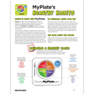 MyPlate's Healthy Habits Tear pad front, building a healthy plate diagram, Health Edco, 52075