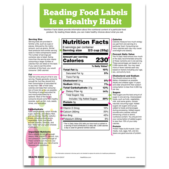 Reading Food Labels Tear Pad for health education to teach how to read the Nutrition Facts Label, English, Health Edco, 52085